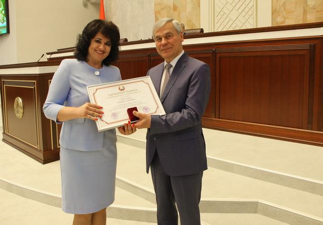 Награждение Почетной грамотой Национального собрания Республики Беларусь